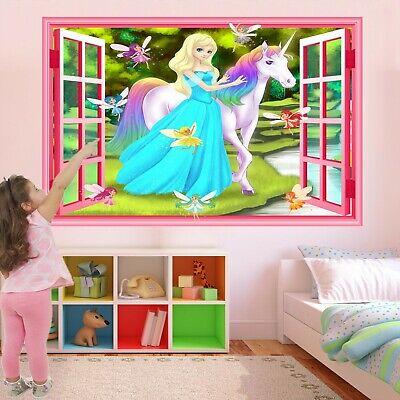 Unicorn Principesse Fate Fantasy Muro Adesivo Murale Decalcomania Stampa Art Gr26- Gradevole Al Gusto
