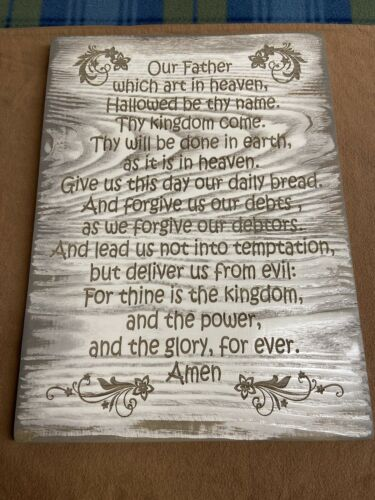 "Lords Prayer Wooden Handmade Sign 15""x11"""