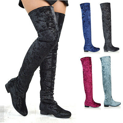 cba10627448bc Womens Flat Long Sock Boots Thigh High Stretch Calf Ladies Over The Knee  Shoes | eBay