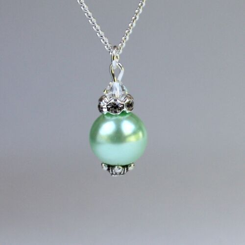 Mint green vintage pearl silver chain pendant necklace wedding bridesmaid gift