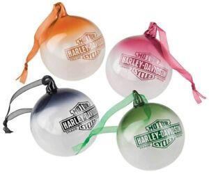 Harley-Davidson-Farbiges-Kugel-Ornament-Set-Glas-mundgeblasen-Weihnachten
