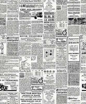 New Luxury French Newspaper Black & White Luxury Wallpaper Design