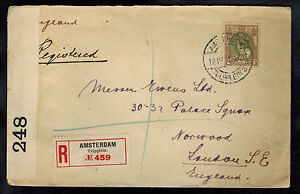1915 Amsterdam Netherlands Censored Cover to Norwood England