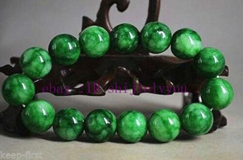 12mm 100/% Natural Green Jade Jadeite Round Gemstone Beads Bangle Bracelet AAA