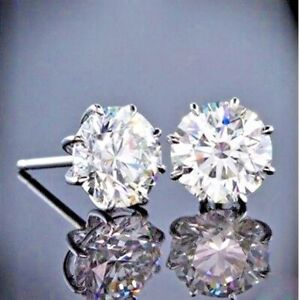 2-00-Ct-Round-Moissanite-Solitaire-Stud-Earrings-14K-White-Gold-FN-Gift-Jewelry