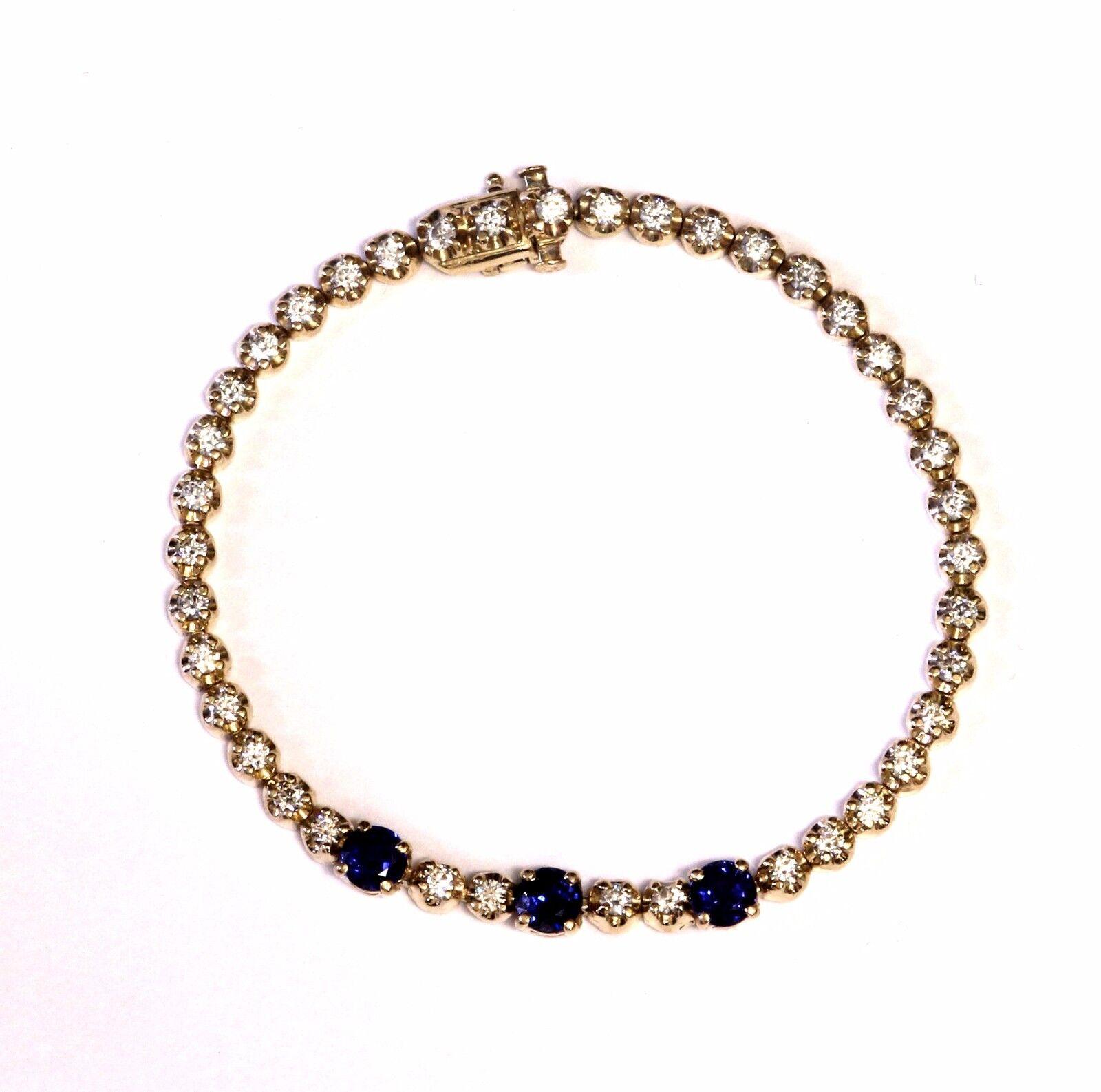 14k yellow gold created sapphire 1.56ct diamond tennis bracelet 12.2g 6 3 4 VS G