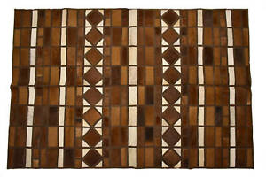 """Aydin Mosaic Square Cowhide Patchwork Area Rug Hair-On Genuine Leather 5'3""""x8'0"""""""
