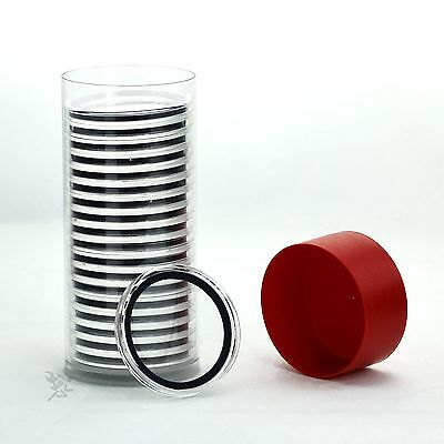 Red Capsule Tube /& 20 Air-Tite 40.6mm Velour Green Ring Coin Capsules