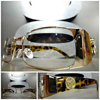 Mens CLASSIC VINTAGE RETRO Style Clear Lens EYE GLASSES Rose Gold Tortoise Frame