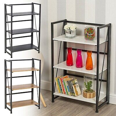 3 Tier Wood /& Steel Folding Ladder Shelf Collapsible Unit Office Storage Rack