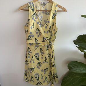 ATMOS-amp-HERE-Yellow-Floral-Summer-Wrap-Dress-Sleeveless-10-M-Medium