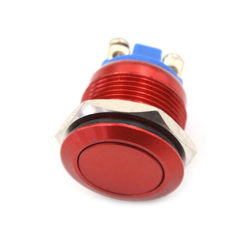 1PC 16mm Impermeable Rojo momentáneo interruptor de botón de Metal Flat Top YJ
