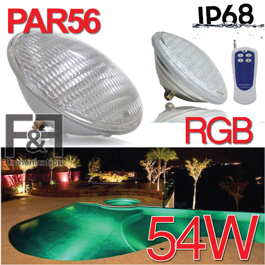 LAMPADA PISCINA PAR56 FARETTO LED PISCINA RGB MULTIFarbe 54W LED 300W VETRO IP68