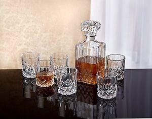 Image Is Loading Crystal Whiskey Bar Set Decanter Gl Bourbon Scotch