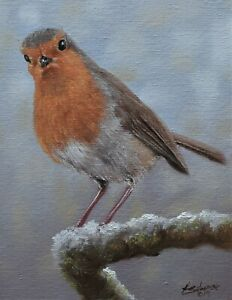 Fine-John-Silver-Original-Oil-Painting-Robin-Bird-On-A-Branch-Wildlife-Art