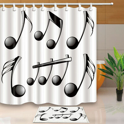 Music Decor Musical Note Bathroom Fabric Home Waterproof Shower Curtain Set 71 Ebay
