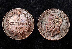 2-Centesimi-1862-N-Napoli-Regno-d-039-Italia-Bronze-Cote-SPL-150