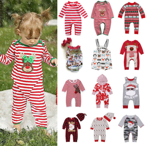 UK Newborn Baby Boy Girl Christmas Reindeer Romper Jumpsuit Clothes Outfits Hat