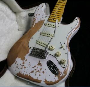 Top-Quality-Relic-ST-Electric-Guitar-Eged-Hardware-Alder-Body-White-Color-3S