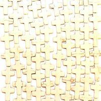 "NG1676L2 Creamy White Turquoise 16x12mm Flat Cross Magnesite Gemstone Beads 15"""