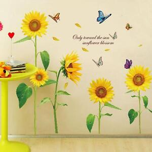 Image Is Loading Removable Sunflower Butterfly Chart Wall Sticker Art Decal