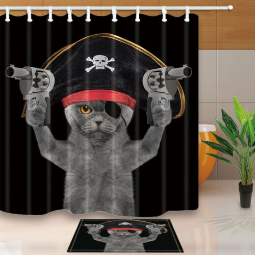 The Pirate Cat Theme Waterproof Fabric Home Decor Shower Curtain Bathroom Mat