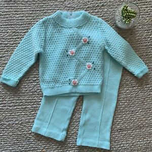 VTG-Aqua-Blue-Floral-Embroidered-Two-Piece-Knit-Sweater-Pants-Set-12M-60s-70s