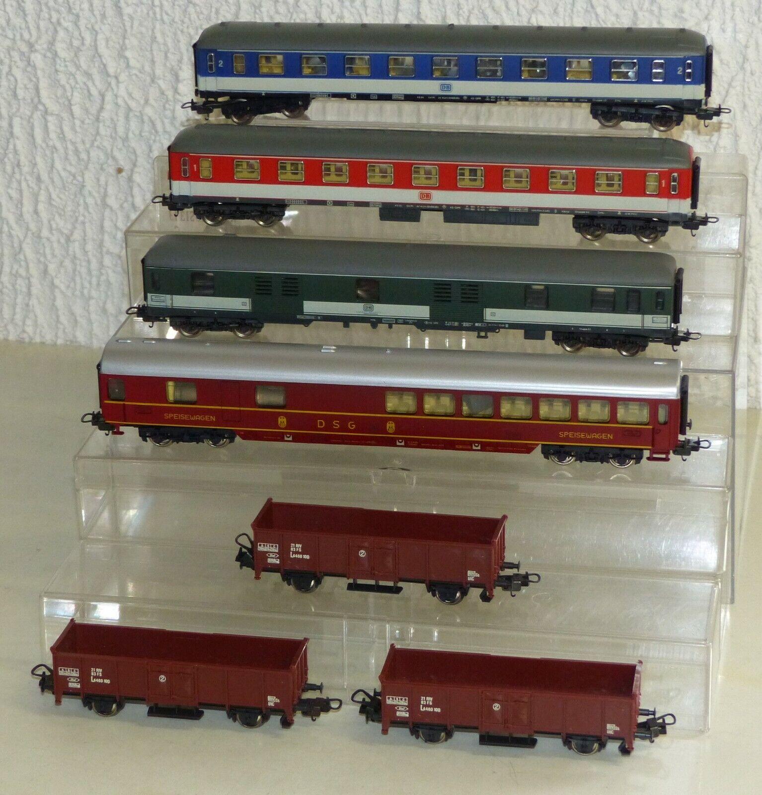 7x Lima Wagen  4x Personenwagen, 3x Güterwagen, Hochbordwagen H0