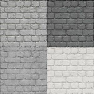 Détails sur Mur de Briques Effet Papier Peint Enfants Ados Enfants Noir  Gris Argenté