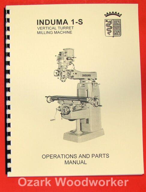 Induma 1 S Vertical Turret Milling Machine Parts Manual 0368 Ebay