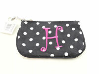 Mainstreet Collection - Small Black Fabric Money Pouch - Id Holder - Letter H