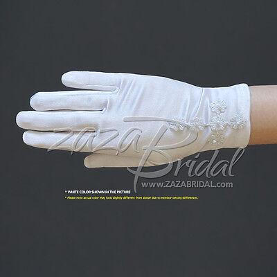 ZAZA BRIDAL Girls White Satin Gloves with Daisy Flowers Cross /& Pearls
