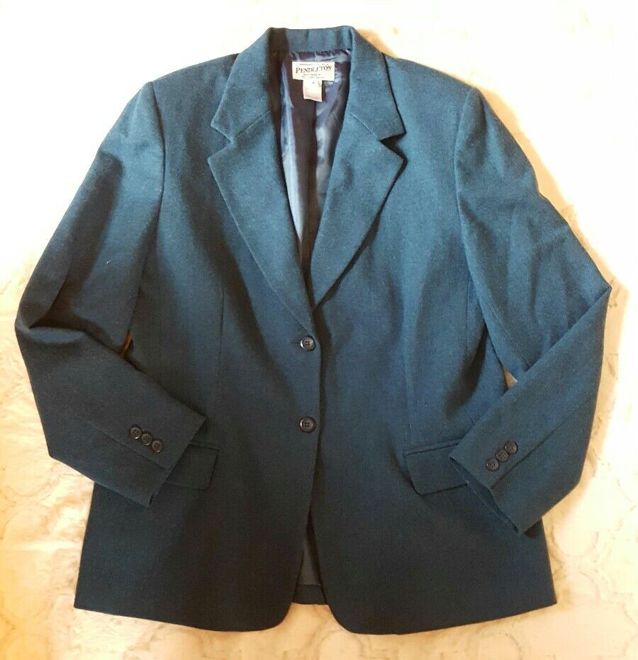 Vintage Pendleton Virgin Wool Women's bluee 2 Button Blazer SZ 14