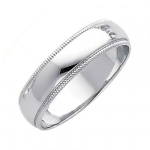 Solid Real 14k White Gold Wedding Anniversary Band Ring