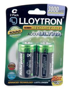 Lloytron ACCU ULTRA LR14 C Cell Rechargeable Batteries 3000mAh Capacity - 2 Pack
