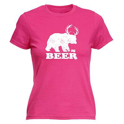 Funny Novelty Tops T-shirt Womens Tee Tshirt - Beer Bear Deer Um Eine Reibungslose üBertragung Zu GewäHrleisten