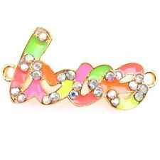 6x Candy Color AB Enamel Golden Love Pendants Charms Connector Precious Gifts J
