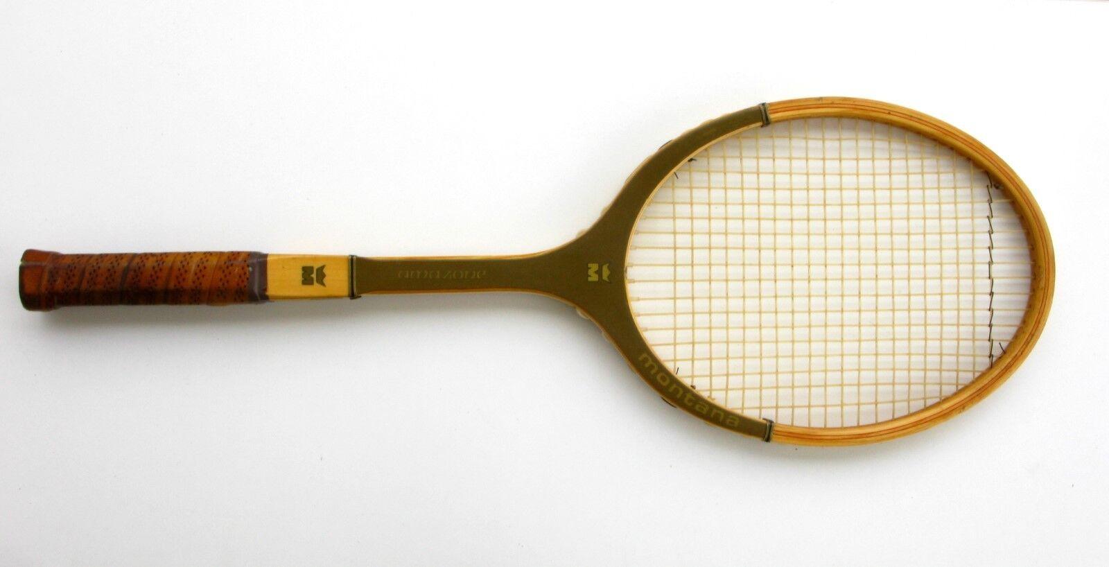 Ancienne raquette de tennis MONTANA - AMAZONE - MONTANA  Raquette bois - Vintage c70e15
