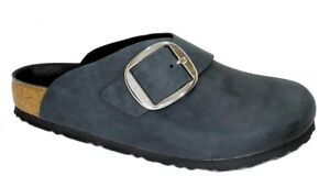 premium selection 222e0 c4dc3 Details about Birkenstock Clogs BASEL BIG BUCKLE oiled waxy black leather  regular Boston NEW