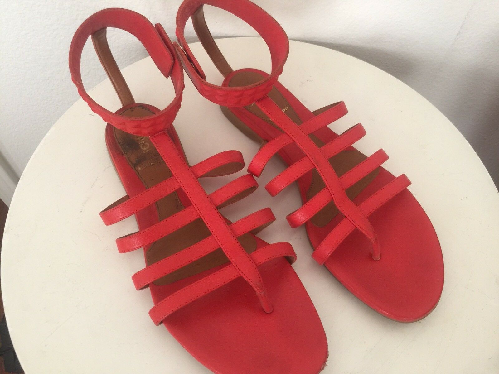 FENDI Fab orange Citrus Leather Gladiator Strappy Sandal shoes 39.5 US  750