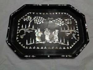 antique-asian-wood-tray-abalone-shell-or-mother-of-pearl-inlay-vintage-READ-F4