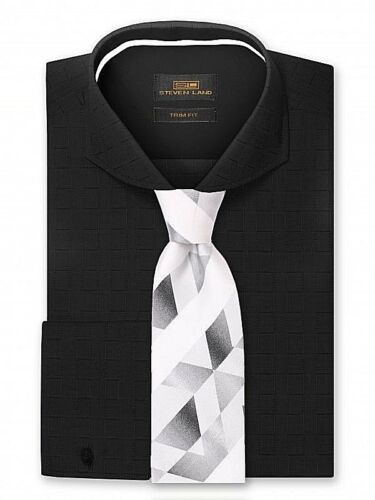Dress Shirt Only by Steven Land Trim /& Classic Fit French Cuff-Black-TA817-BK