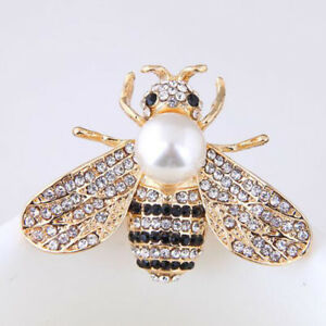 189a8331b0d Image is loading Fashion-Enamel-Bumble-Bee-Pearl-Brooch-Pin-Costume-