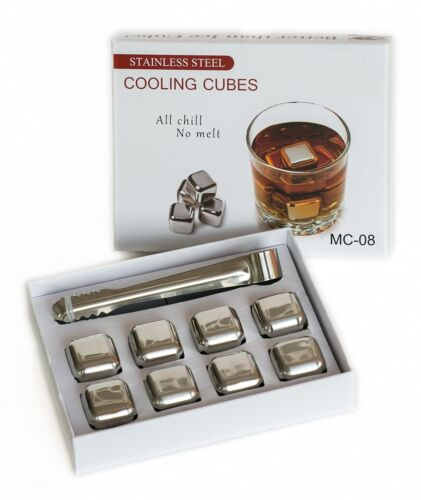 Stainless Steel Reusable Ice Cubes,Whiskey,Wine,Beverage,8pc SS Tong//Gift Box