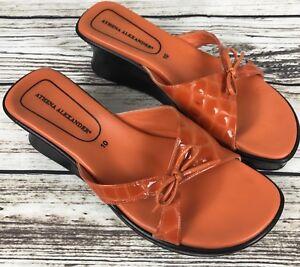 Womens-ATHENA-ALEXANDER-Orange-Patent-Leather-Platform-Sandals-Slides-SIZE-10