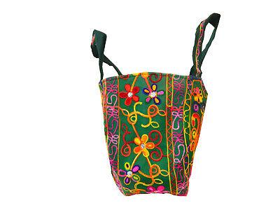 Indische Baumwolltasche grün 57x46cm bunte Stickereien Spiegel Tasche Accessoire
