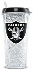Oakland Raiders Crystal Freezer Tumbler with Straw - 16oz [NEW] NFL Cup Mug