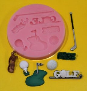 GOLF-SET-SILICONE-MOULD-FOR-CAKE-TOPPERS-CHOC-CLAY-ETC