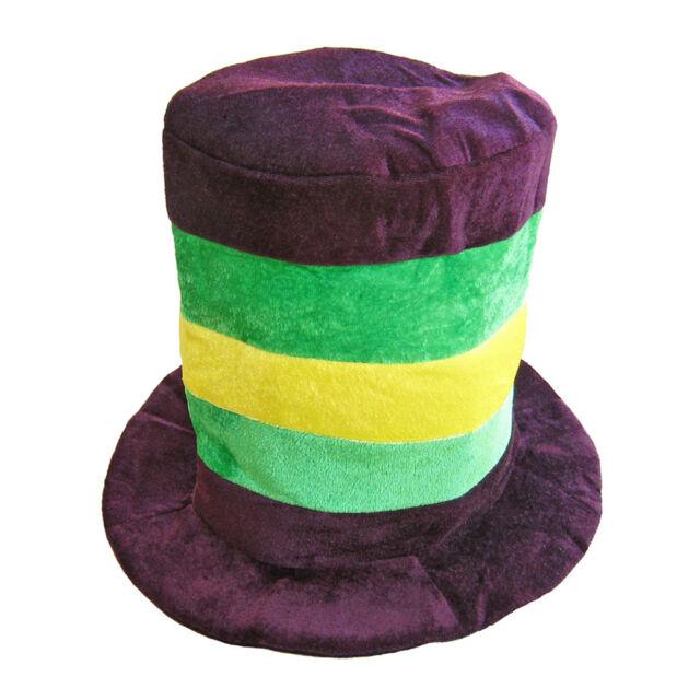 Mardi Gras Velvet Top Hat ~ HALLOWEEN PURPLE GREEN YELLOW STRIPED STOVEPIPE  HAT 009bed409195