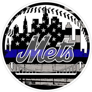 New-York-Mets-Thin-Blue-Line-MLB-Color-Vinyl-Decal-Sticker-Sizes-Free-Shipping